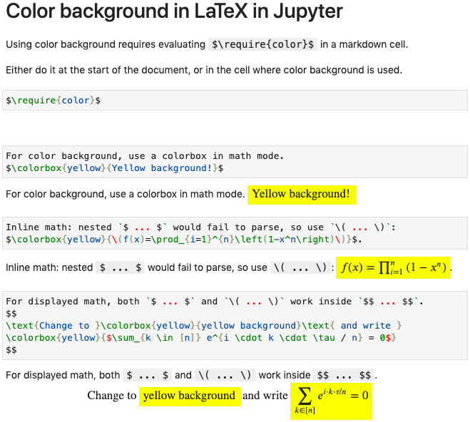 Jupyter LaTeX color background